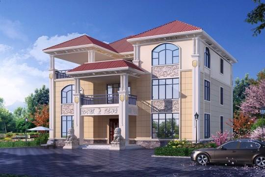 占地19x18三层带露台自建别墅设计全套施工图