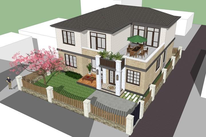 占地13x13二层带露台自建别墅设计全套施工图