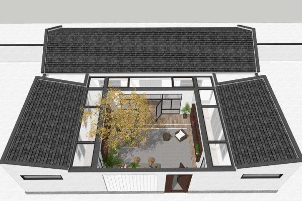 占地17x16一层带庭院自建三合院设计全套施工图