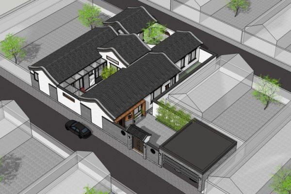 占地22x18一层带庭院自建别墅设计全套施工图