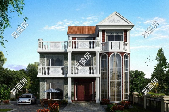 占地12x13三層帶露臺自建別墅設計全套施工圖