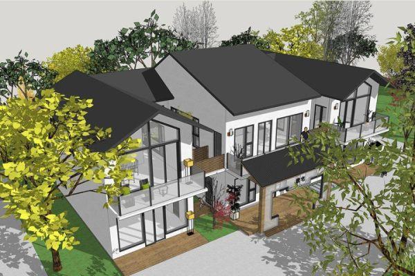 占地25x12二层带露台自建别墅设计全套施工图