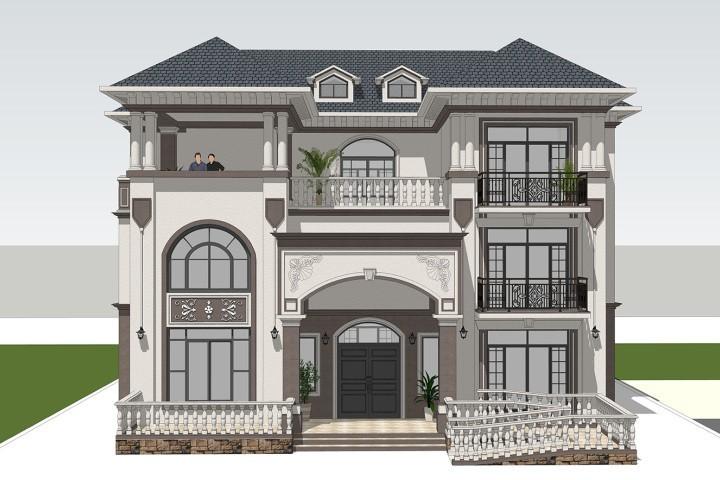 占地18x14三层带露台自建别墅设计全套施工图
