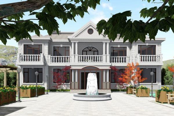 占地20x14二层带庭院自建别墅设计全套施工图