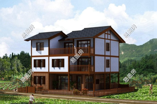 占地12x9三层带露台自建别墅设计全套施工图