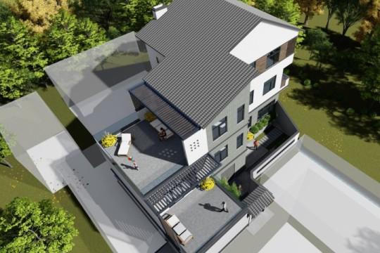 占地16x19三层带露台自建别墅设计全套施工图