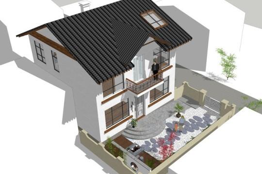占地8x8二层带庭院自建别墅设计全套施工图