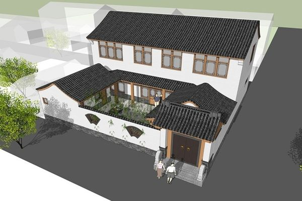 占地16x15二层自建带庭院三合院设计全套施工图