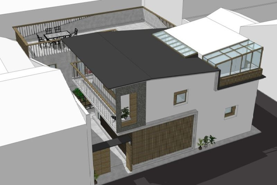 占地12x17二层带庭院天台自建别墅设计全套施工图