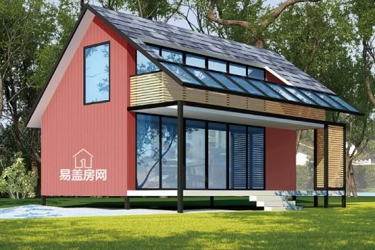 占地6x8二層帶露臺自建木屋別墅設計全套施工圖
