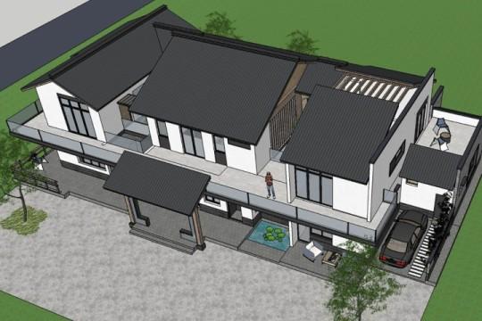 占地24x15二层带中庭自建别墅设计全套施工图