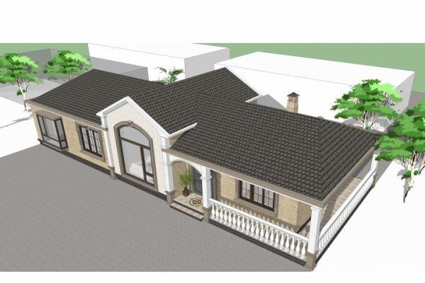 占地22x8一层带火炕自建别墅设计全套施工图