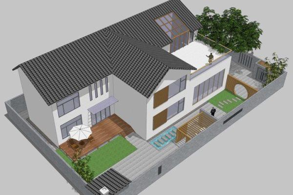 占地14x20二层带庭院自建别墅设计全套施工图