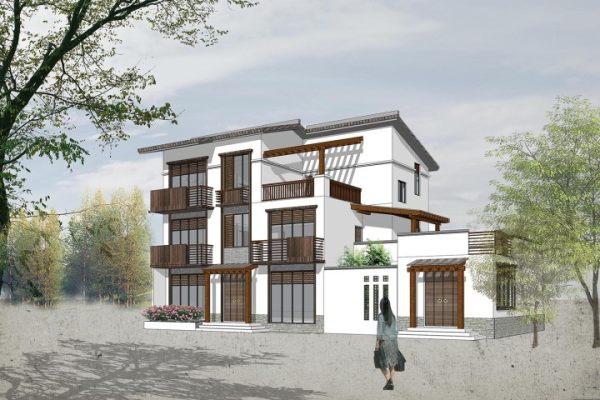 占地19x11三层带露台自建别墅设计全套施工图