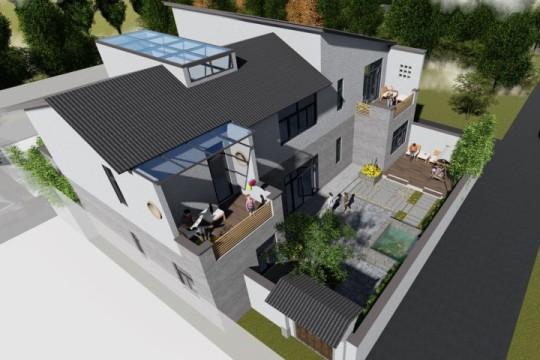 占地32x17一层带庭院自建别墅设计全套施工图