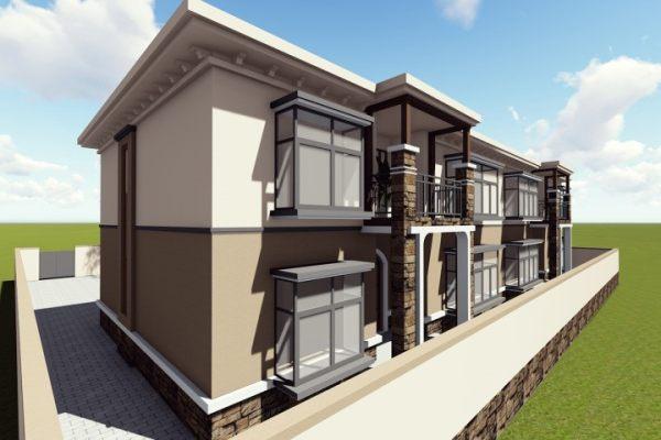 占地24x10二层双拼自建别墅设计全套施工图