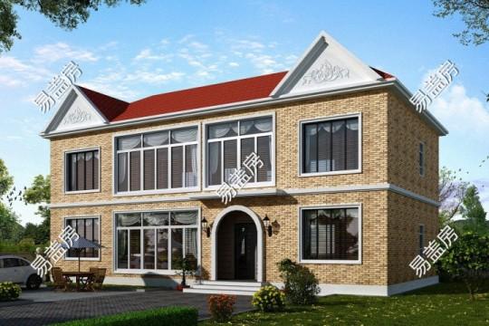 占地17x9二層歐式風格自建別墅設計全套施工圖
