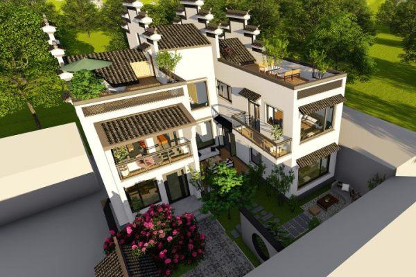 占地14x16二层带中庭自建别墅设计全套施工图