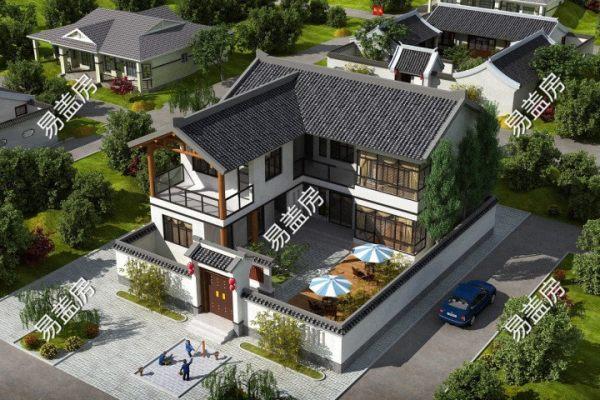 占地16x19二层带庭院自建别墅设计全套施工图