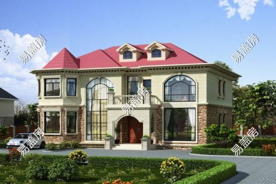 占地17x13二层挑空带露台自建别墅设计全套施工图