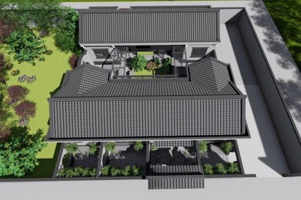 占地16x17一层带中庭自建别墅设计全套施工图