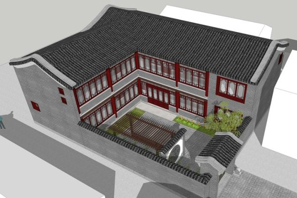 占地17x14二层带庭院自建别墅设计全套施工图