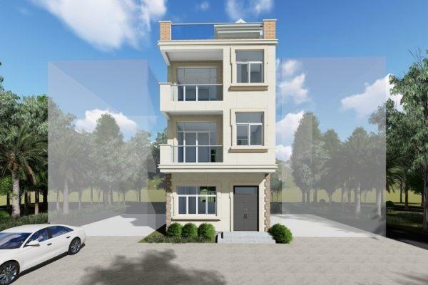 占地6x10三层带露台自建别墅设计全套施工图