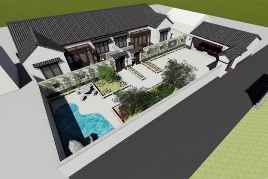 占地21x12一层双拼带庭院自建别墅设计全套施工图
