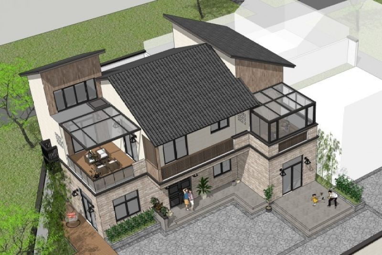 占地15x11二层带露台自建别墅设计全套施工图