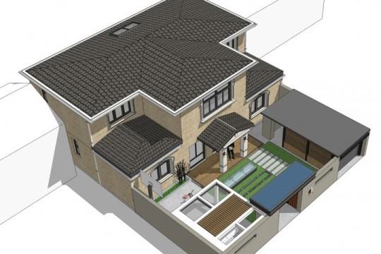 占地19x14二层带庭院自建别墅设计全套施工图