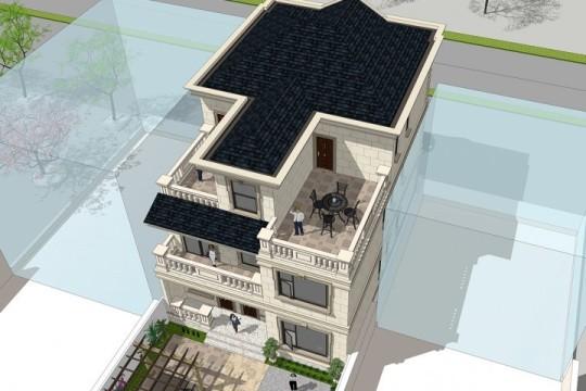 占地10x14三层带庭院露台自建别墅设计全套施工图