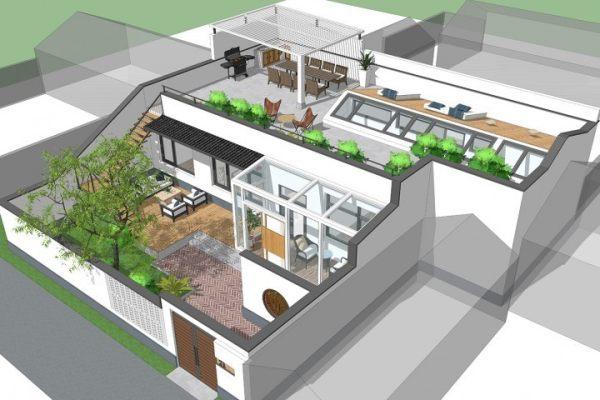 占地18x11一层带庭院自建别墅设计全套施工图