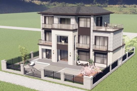 占地15x13三层带露台自建别墅设计全套施工图