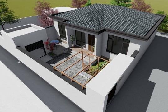 占地12x10一层带庭院自建别墅设计全套施工图