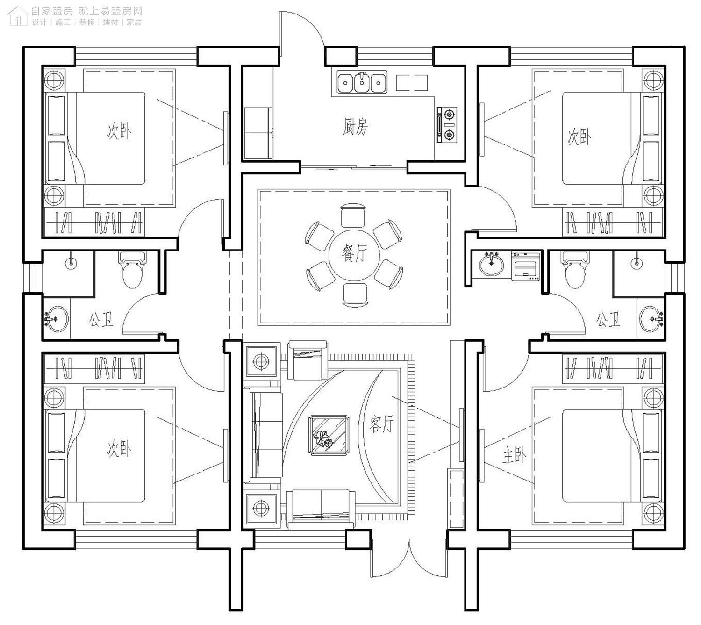 现代一层别墅设计图平面图