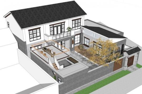 占地17x19二层带庭院自建别墅设计全套施工图