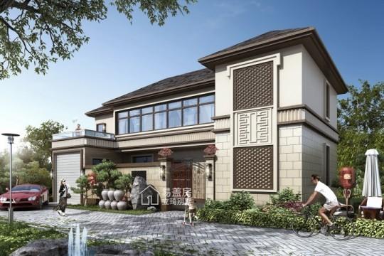 占地18x8二层带庭院自建别墅,造价36W