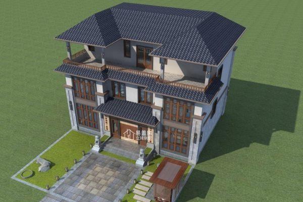 占地16x12三层挑空带露台自建别墅设计全套施工图