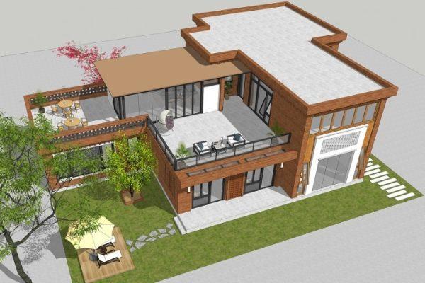 占地22x15二层带露台自建别墅设计全套施工图
