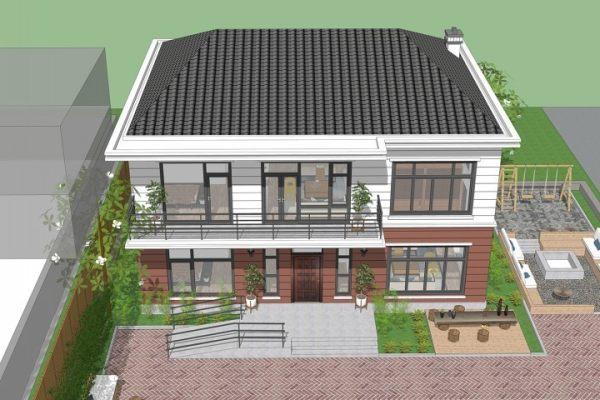 占地13x11二层带露台自建别墅设计全套施工图