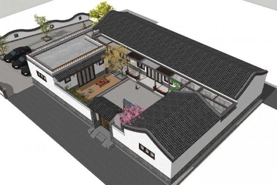 占地25x18一层自建四合院设计全套施工图