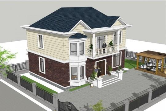 占地12x12二層歐式獨棟自建別墅設計全套施工圖