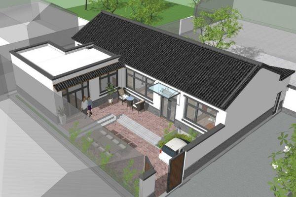 占地16x13一层带庭院自建别墅设计全套施工图