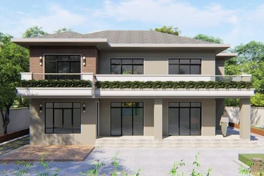 占地14x10二层带露台自建别墅设计全套施工图