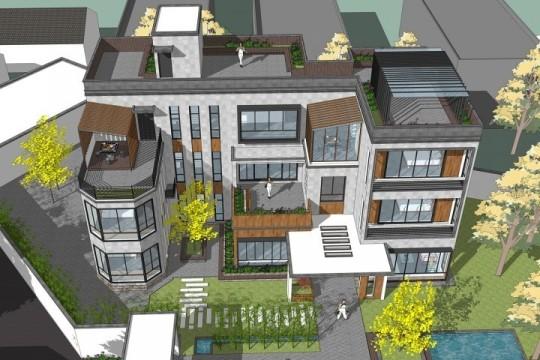 占地22x11三层带露台自建别墅设计全套施工图