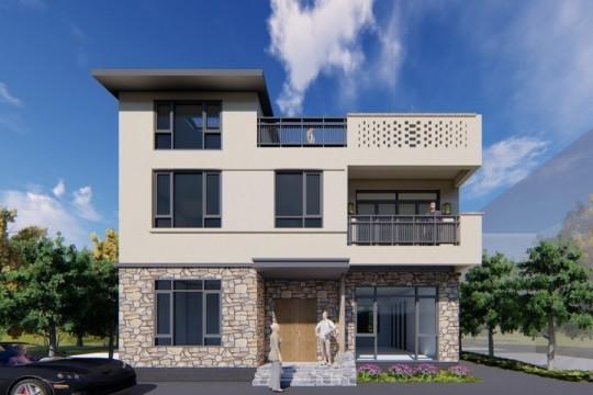 占地11x9三层带天台自建别墅设计全套施工图