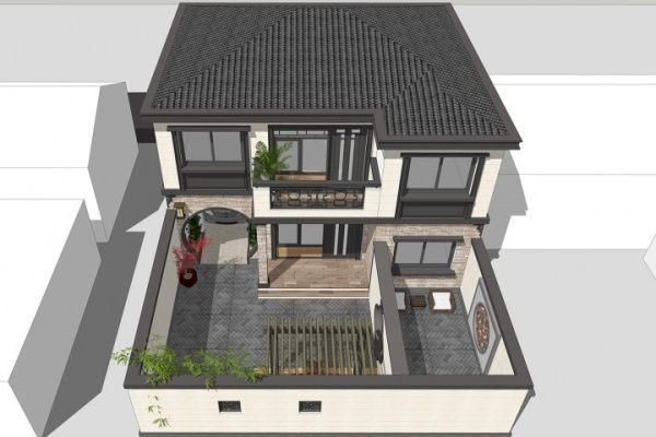 占地11x10二层带庭院车库自建别墅设计全套施工图