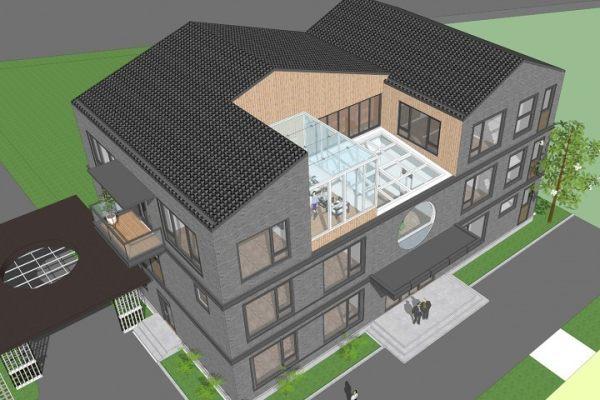 占地24x14三层挑空自建办公楼设计全套施工图