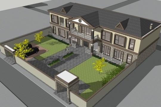 占地26x10二层带庭院自建别墅设计全套施工图