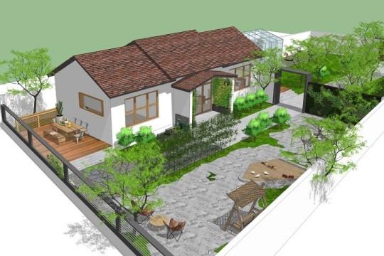 占地15x6一层带庭院自建别墅设计全套施工图